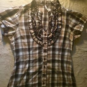 Brown Plaid Button Up Blouse with Ruffled Collar